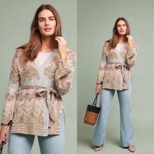 NEW Printed Meadow Rue Zig Zag Kit Belted Cardigan